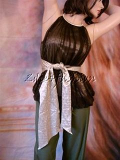 1040 New Jean Paul Gaultier Brown Gold Silk Chiffon Tie Bubble Top 44