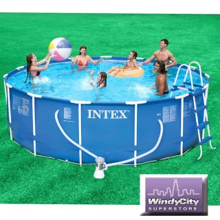 Intex 15 x 42 Metal Frame Above Ground Swimming Pool Package 1000 GPH