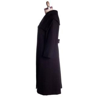 Vintage Black Textured Wool Swing Coat Huge Collar George Carmel Size