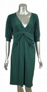 ABS by Allen Schwartz Womens Green V Neck Twist Front Jersey Dress s