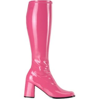 60s 70s ABBA Knee High Wide Calf Hot Pink GoGo Boots