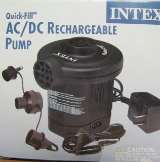 Intex 110 120 Volt AC DC Rechargeable Quick Fill Electric Pump 12volt