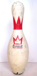 VINTAGE BRUNSWICK RED CROWN BOWLING PIN ABC APPROVED NO. 5 PLASTIC