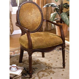 antique dark oak finish solid wood accent chair