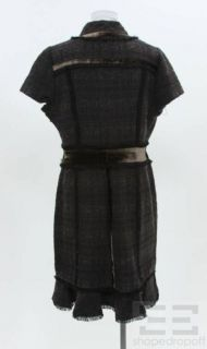 Burch Brown & Black Tweed Velvet Short Sleeve Ackley Dress Size 14 NEW