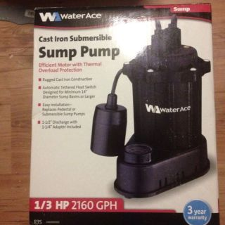 Water Ace Cast Iron Submersible Sump Pump 1 3 HP 2160 GPH