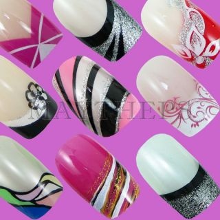 24 Designer French Acrylic Nail Full Tips Series B