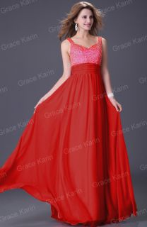 Sexy Beaded Chiffon Long Formal Prom Party Ball Cocktail Evening Dress