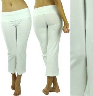 Comfy Foldover Cropped Capri Yoga Lounge Sport Gym Active Pant