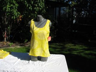 New Danskin Now Active Tank Yellow Print s XLG
