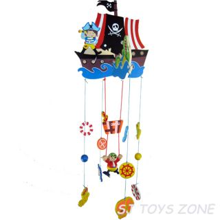 Wooden Pirate Mobile Toy Over Baby Bed / Cot * Nursery Room Decoration