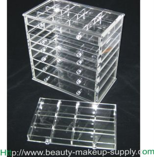 ACRYLIC 7 DRAWER TABLE TOP JEWELRY ORGANIZER COSMETIC STORAGE DRAWERS
