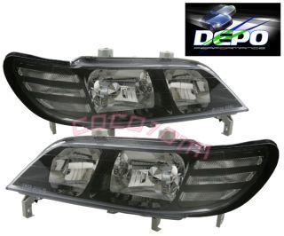 97 99 Acura CL JDM Style Black Headlights Depo 98 Pair