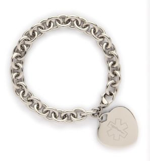Stainless Heart Charm Medical ID Link Bracelet Diabetes Decals or