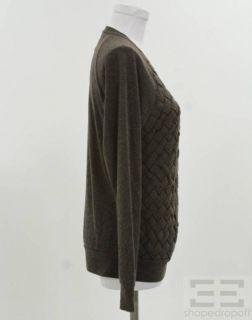 ADAM Adam Lippes Brown Basketwoven & Knit Crewneck Sweater Sz M