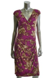 Ralph Lauren New Adara Purple Floral Print Jersey V Neck Ruched Casual