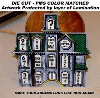 Addams Family Pinball Machine Mansion Insert Decal Overlay