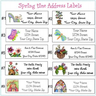 90 personalized address labels for spring fresh fun festive
