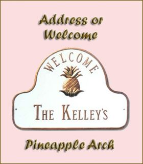 Pineapple Welcome Plaque or Address Sign Personalized