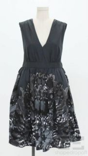 Adam Adam Lippes Black Grey Print Pleated Sleeveless V Neck Dress Size
