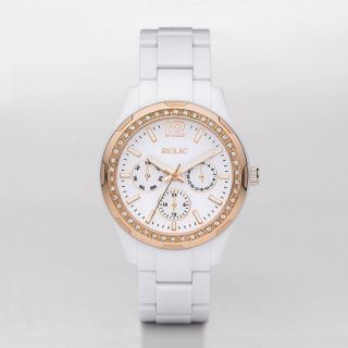 RELIC by Fossil White Rose Gold Crystal Multifunction Watch ZR15626