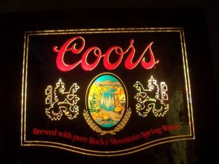 Adolph Coors Company Vintage Bar Sign Coors Beer Light Up Mirror 1980
