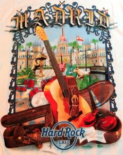 Hard Rock Cafe Madrid 2011 White City Tee Shirt 2X XXL Pre Production