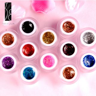 Set de 12 Color UV Gel Glitter Manicura Decoracion Uñas