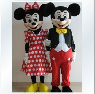 Mickey and Minnie Mouse Mascot Costume Adult Size 2 Pcs Cartoon Suits