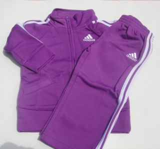 Adidas Girls Track Suit Jacket Top Pants Dark Purple 501 Warm Up 12 18