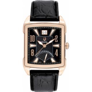 Bulova 97B117 Mens Adventuer Black Leather Strap Watch