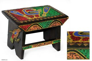 Throne Artisan Ghana Hand Carved Wood African Ottoman Stool Art