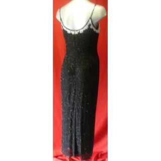 Adrianna Papell Black White Beaded Silk Gown Size 8P 8 Petite Dress