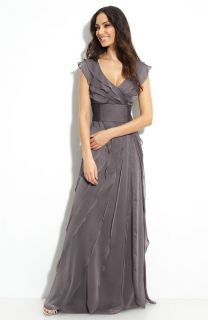 adrianna papell tiered chiffon gown size 6