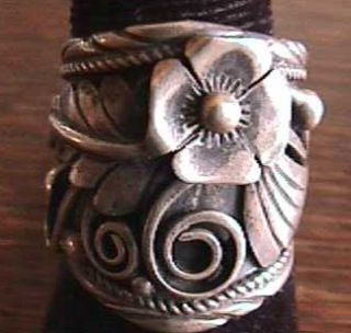 Ethnic Southwest American Silver Ring Ornate Floral Design Size 9 10