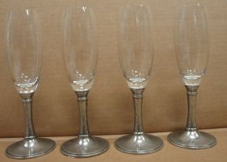 New Williams Sonoma Pewter Champagne Flute Glasses 4