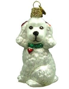New Merck Family Old World Christmas White Poodle Dog Ornament 12152