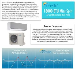 Senville Ductless Split Heat Pump Air Conditioner 19 SEER/Energy Star