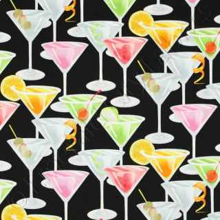 Martini Glasses Cocktails Drinks Novelty Cotton Fabric Yd