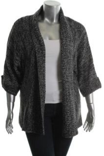 AGB New Black White Marled Tab Sleeves Open Front Cardigan Sweater XL