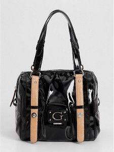 New Guess Handbag Ladies Aerin Shine Box Satchel Shoulder Bag Black