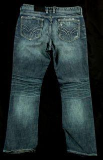 Affliction Mens Ace Fused Imperial Blue Denim Jeans 0188104 Size 36
