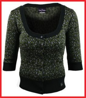 Lucky 13 Green Leopard Print Pinup Sweater Cardigan top XXL pinup