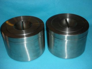 Two Large Stainless Steel Canisters Air Tight and Stackable 9 5 x 7