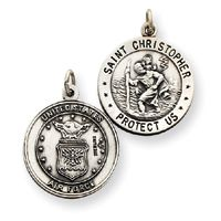 St St Saint Christopher USA Air Force Charm Pendant Medal