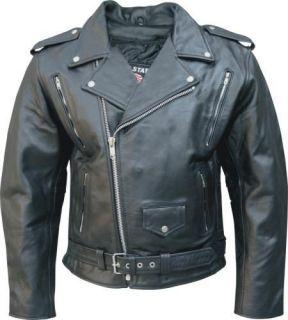 Mens Black Vented Full Belt Classic Motorcycle Biker Jacket