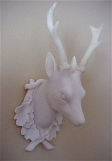 WOW 2 Small White Alabaster Stag Deer Head Wall Decor