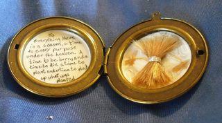 mourning hair art/ jewelry  human hair sheaf of wheat locket