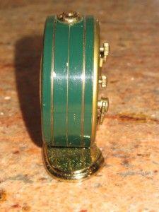 Gubelin 8 Day Shelf Alarm Clock 15 Jewels Swiss Made Brass Art Deco