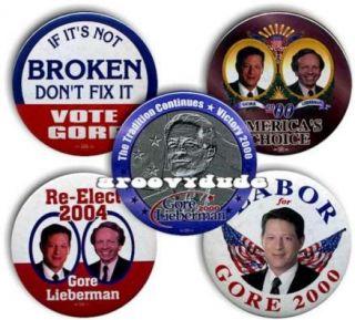 Al Gore Joe Lieberman 2000 Pins Buttons President Political Campaign